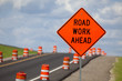 canvas print picture - Road Construction Sign