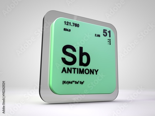 Antimony Sb Chemical Element Periodic Table 3d Render Buy This