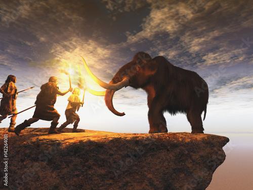Fototapeta  Hombres prehistóricos cazando un joven mamut