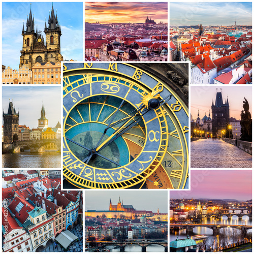 Fotobehang Praag Photo collage from Prague, Czech Republic. Collage includes major landmarks of the city.