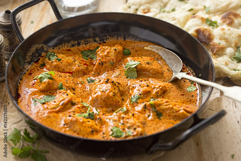 Fototapety, obrazy: Butter chicken curry with tender chicken breast, cream, butter & honey
