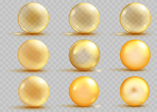 Set Of Transparent And Opaque Yellow Spheres With Shadows. Transparency Only In Vector File