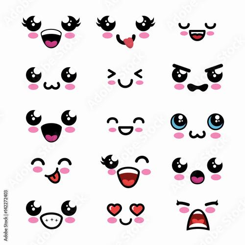 set faces kawaii style vector illustration design Canvas Print