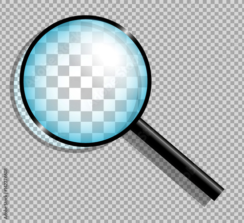 Photo Magnifying glass on transparent background.
