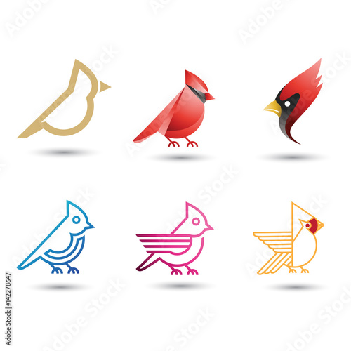 Fotomural Cardinal bird icon collection logo