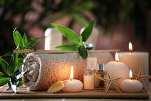 Beautiful Spa Composition On Bamboo Mat