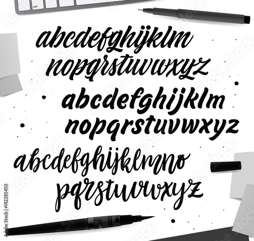 handwritten brush style modern calligraphy cursive typeface hand lettering and