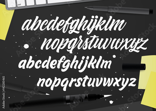 Brush Painted Letters Handwritten Script Alphabet Hand Lettering
