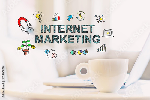 Internet Marketing concept with a cup of coffee