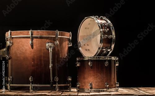Fotografia, Obraz drums, musical percussion instruments on a black background