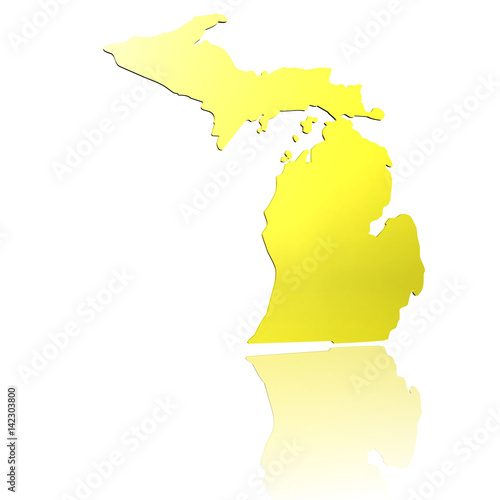 Gold In Michigan Map.Usa Michigan 3d Piktogramm In Gold Mit Reflexion Buy This Stock