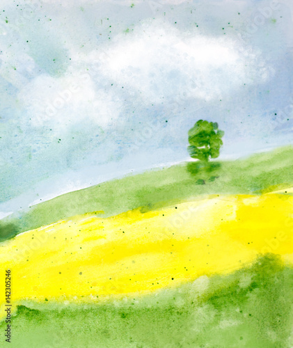 Poster Jaune abstract watercolor landscape background with summer field, trees, sky with clouds