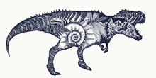 Tyrannosaur Double Exposure Tattoo Art. T-Rex Dinosaur Monster T-shirt Design.Symbol Of Archeology, Paleontology
