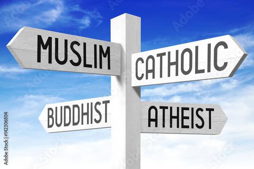 Photo Religion concept - wooden signpost
