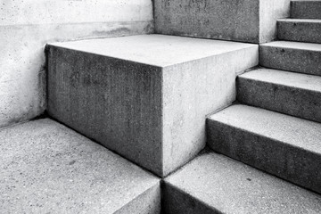 Modern concrete staircase as abstract architectureal background