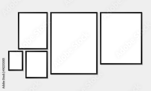 Set Of Simple Frames Mockups Poster Or Photo Frame Template With 5