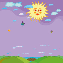 Sun With Human Face And Sun Rays In Sky With Clouds Above Green Land. Vector Illustration