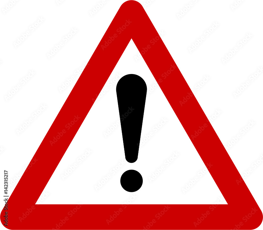 Fototapeta Warning sign with exclamation mark