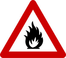Warning Sign With Fire