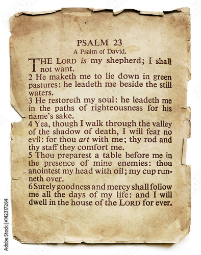 Fotografia  Psalm 23 on Old Paper Isolated