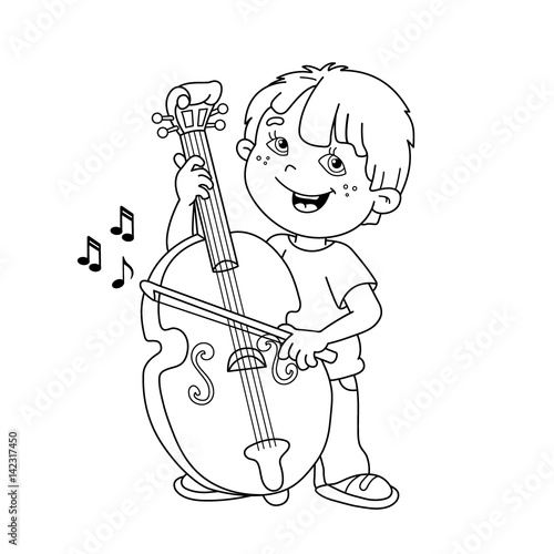 Coloring Page Outline Of Cartoon Boy Playing The Cello. Musical Instruments.  Coloring Book For Kids - Buy This Stock Vector And Explore Similar Vectors  At Adobe Stock Adobe Stock