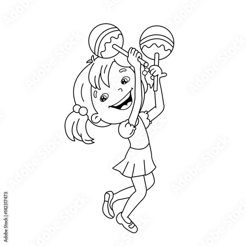 Coloring Page Outline Of Cartoon Girl Playing The Maracas Musical