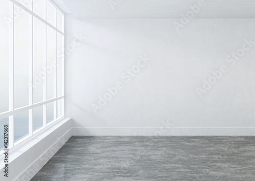 Foto op Aluminium Wand Empty room with white walls. 3D rendering.