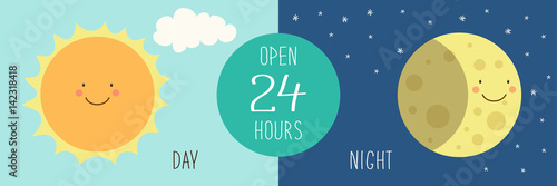 Fényképezés  Cute banner for day and night shop with hand drawn smiling cartoon characters of