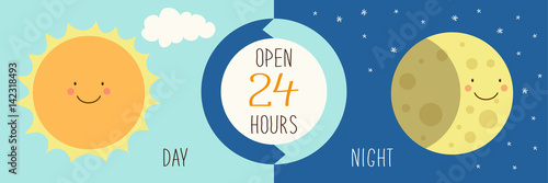 Fotografía  Cute banner for day and night shop with hand drawn smiling cartoon characters of