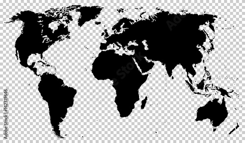 Black detailed world map isolated on transparent background vector black detailed world map isolated on transparent background vector illustration eps10 gumiabroncs Image collections