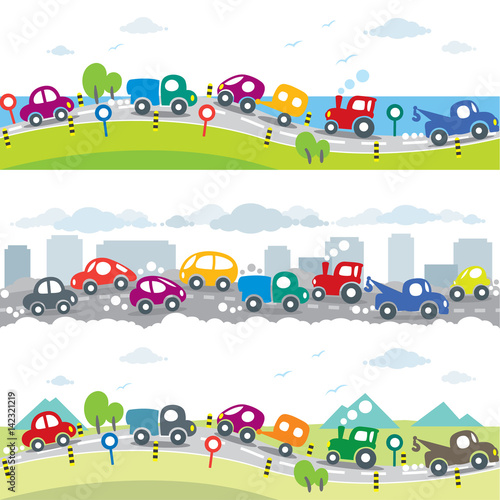 samochody-na-drodze-zestaw-bez-szwu-poziomy-wzor