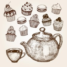 Hand Drawn Cupcakes With Teapo...