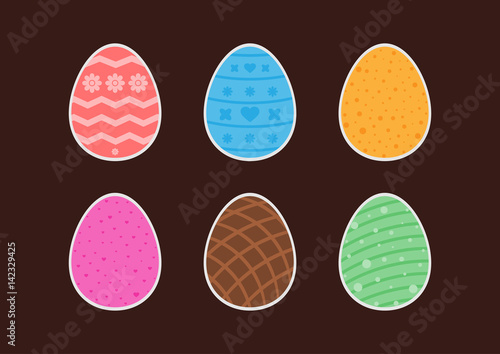 Set of stickers easter eggs with different patterns  Flower, heart