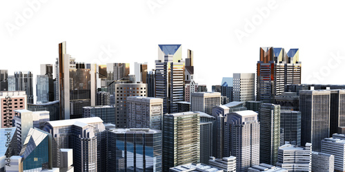 Fototapety, obrazy: panorama cityscape modern high-rise buildings panorama of the central part of the city 3d rendering on white