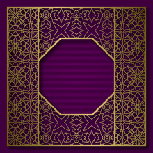 Golden Cover Background With Traditional Patterned Frame In Octagonal Form.