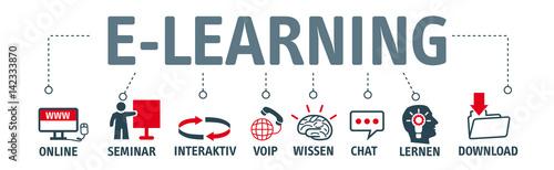 Obraz Banner e-learning concept. Piktogramme mit Schlüsselwörtern - fototapety do salonu