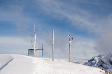 Automatic Weather Station Is On The Top Of The Mountain