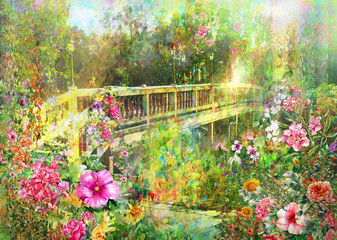 FototapetaAbstract Spring multicolored flowers near Canal Bridge watercolor painting
