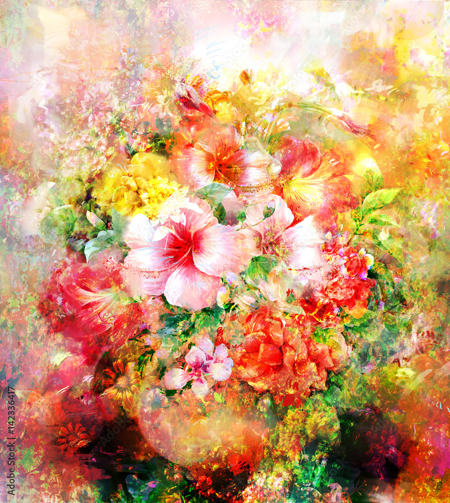 Fototapety, obrazy: Kolorowe kwiaty, akwarela, malarstwo