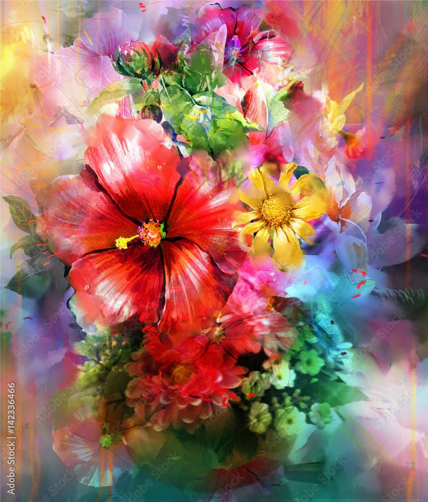 Fototapety, obrazy: Abstrakcyjne kolorowe kwiaty, akwarela
