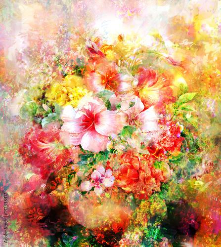 Obraz Kolorowe kwiaty, akwarela, malarstwo - fototapety do salonu