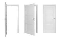 Set Of Different White Door Isolated On White Background