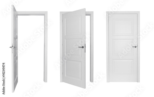 Vászonkép Set of different white door isolated on white background
