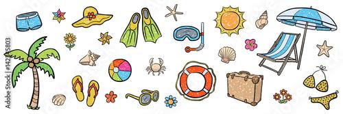 Obraz Farbiges Illustrations-Set: SOMMER-URLAUB / Kreidezeichnung, handgezeichnet, Vektor, freigestellt - fototapety do salonu