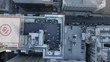 Party on a rooftop in downtown Los Angeles drone view, panoramic view of Downtown Los Angeles from drone