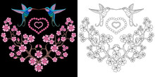 Embroidery Hummingbird And Sakura Design. Collection Of Fancywork Elements For Patches And Stickers. Coloring Book Page With Colibri Birds And Cherry Blossom.