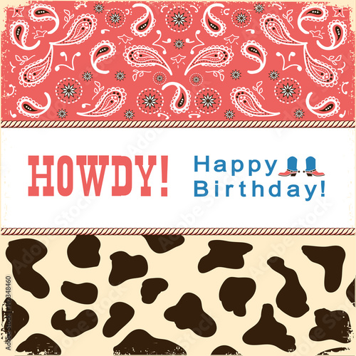 Cowboy Happy Birthday Card With TextVector Child