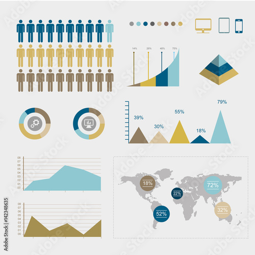 infographie affaire et statistiques  Wall mural