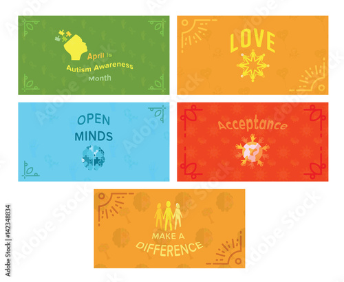 Vector icon set of greeting cards with autism awareness message vector icon set of greeting cards with autism awareness message m4hsunfo