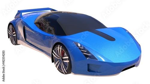 Foto op Canvas Cartoon cars Blue shiny conceptual sports car of the future.
